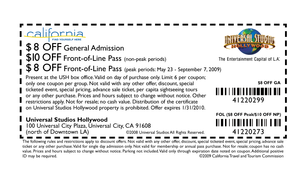Discount coupons for universal studios florida